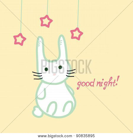 Cute bunny, good night card