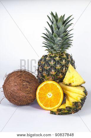 Healthy Eating. Seasonal organic raw fruit - cococnut and ananas.