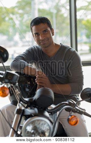 Indian Man On Motorbike