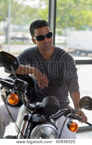 Fashionable Man On Motorcycle