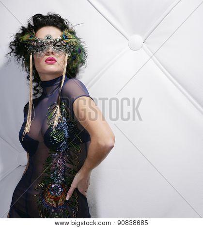 beautiful woman with mask in night club