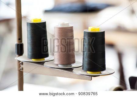 Three Industrial Spools Of Thread