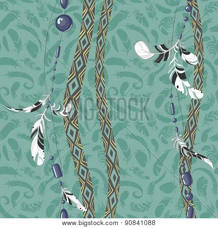 Dreamcatcher feathers seamless pattern.