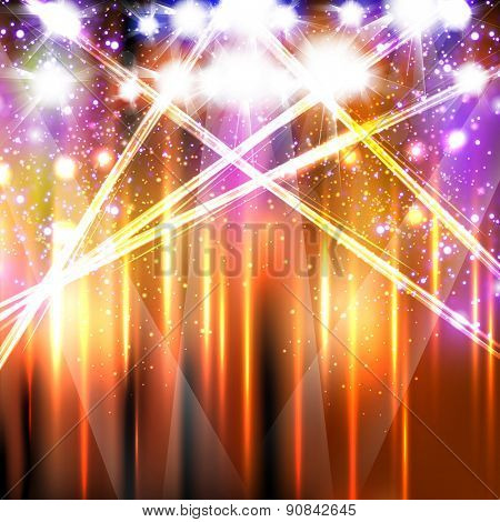 banner neon light stage background, easy editable