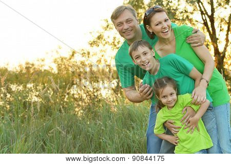 Cheerful family in green shirts walking