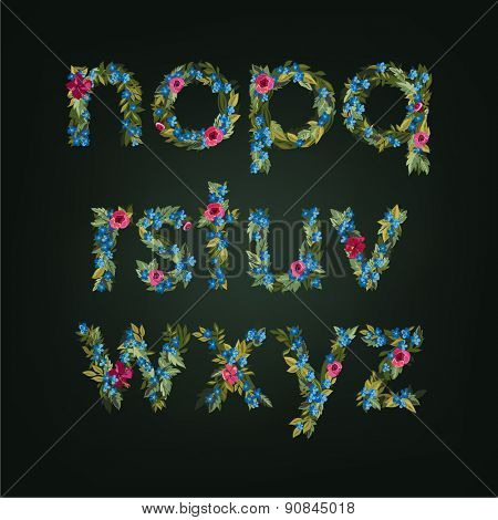 Vector colorful flower font. Lowercase letters for monogram designs.