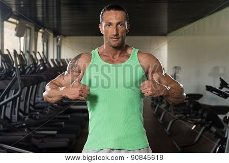 Muscular Mature Man Showing Thumbs Up