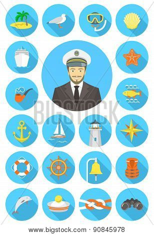 Flat Nautical Icons With Young Attractive Captain