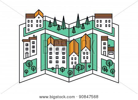 Street Map Line Style Illustration