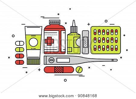 Medication Supplies Line Style Illustration