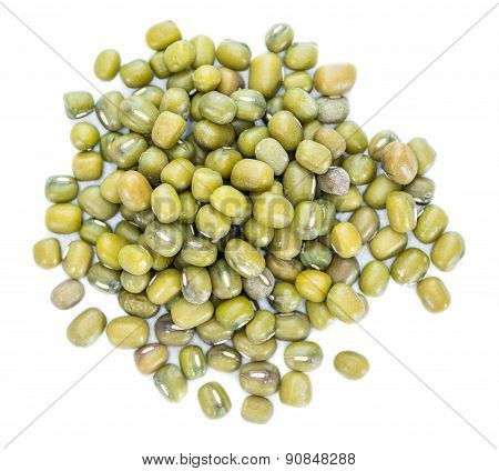 Portion Of Mung Beans (isolated On White)