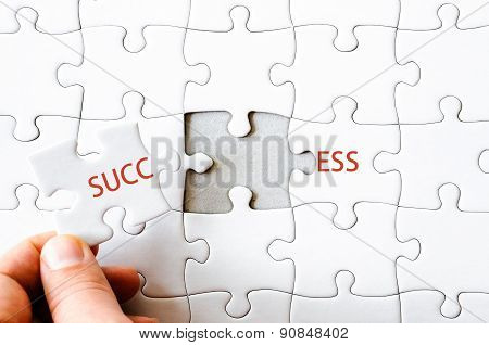 Missing Jigsaw Puzzle Piece Completing Word Success