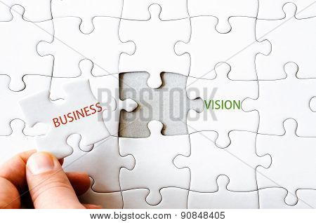 Puzzle Piece Completing Words Business Vision