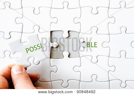Missing Jigsaw Puzzle Piece Completing Word Possible