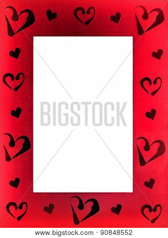 Red Frame For Photo With Hearts