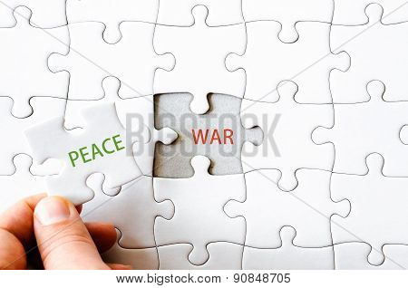 Missing Jigsaw Puzzle Piece With Word Peace