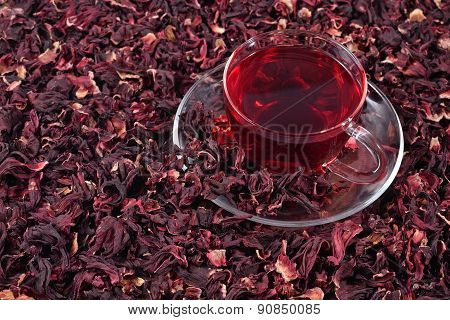 Cup Of Hibiscus Tea In A Dried Petals Of Hibiscus