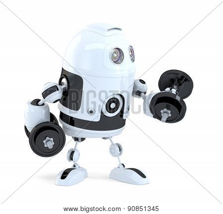 Robot Lifting Dumbbells. Technology Concept. Isolated. Contains Clipping Path