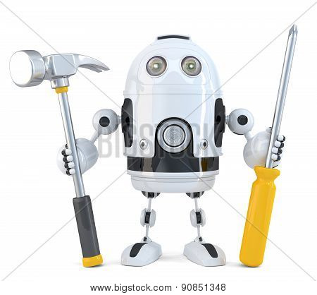 Robot Worker. Technology Concept. Isolated. Contains Clipping Path