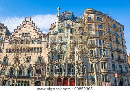 Barcelona, Spain - March 12: Casa Battlo And Casa Ametller Facades. They Are Famous Touristic Attrac