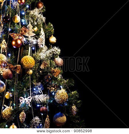 decoration and illumination concept - beautiful decorated and illuminated christma