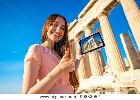 Woman advertising Acropolis