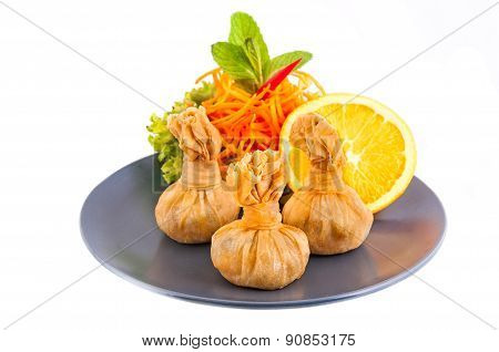 Thai Food, Thai Money Bag Or Bag Of Gold, Traditional Thai Art Desserts On White Background