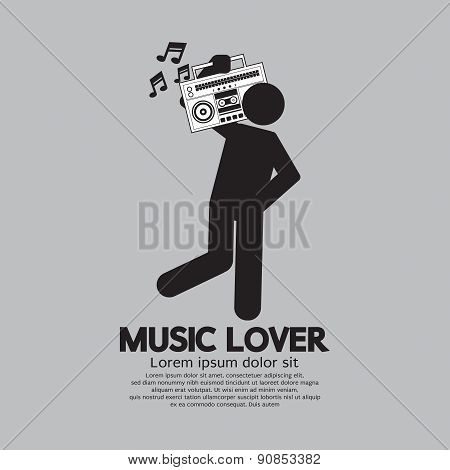 Man With Radio Music Lover Concept.