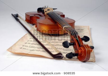 Old Violin And Music Sheet
