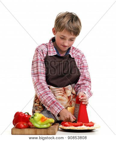 Boy rub vegetables