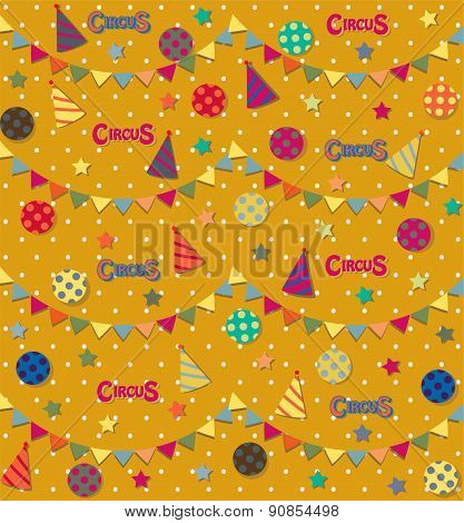Retro circus seamless vector pattern.