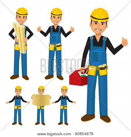 Construction worker or handyman with toolbox
