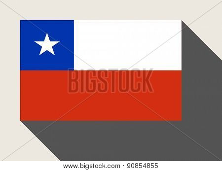Chile flag in flat web design style.