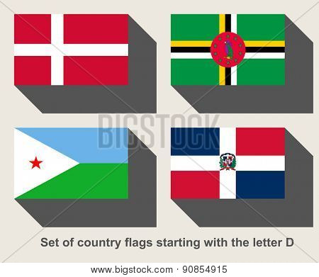 Set of country flags starting with the letter D
