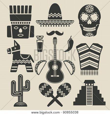 Mexico travel icons set