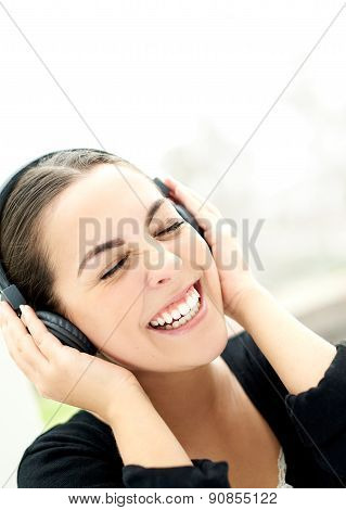 Vivacious Young Woman Enjoying Her Music