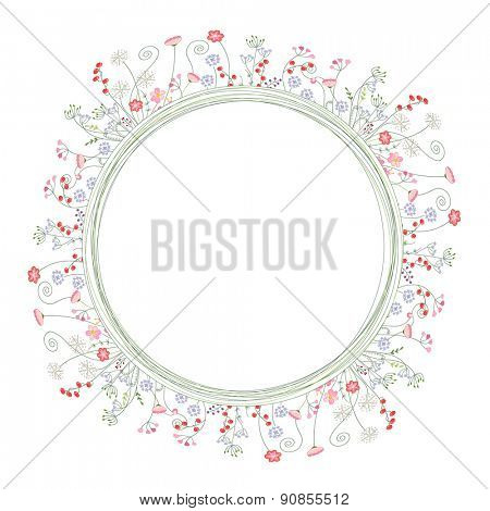 Detailed contour wreath with berries and herbs isolated on white. Round frame for your design, greeting cards, announcements, posters.