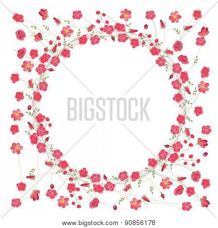 Detailed contour wreath with herbs, roses and wild flowers isolated on white. Round frame for your design, greeting cards, announcements, posters.