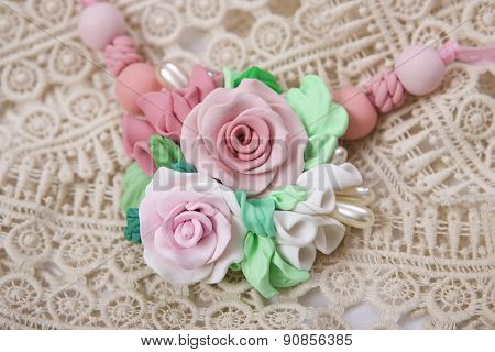 Romantic Style: Floral Rose Necklace (fashion Studio Shot Of A Jewelery Made Of Polymer Clay)