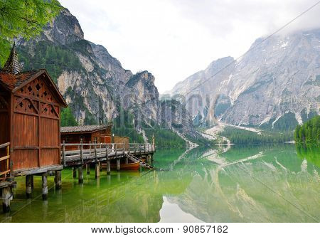 Boathouse at the Lago di Braies in Dolomiti Mountains - Italy Europe