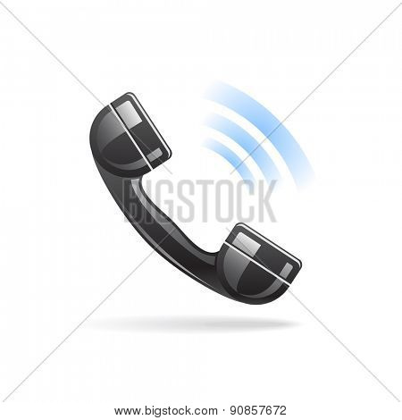 Shiny calling telephone icon with shadow on white background / Phone icon