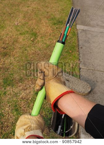 Green fiber optic cable