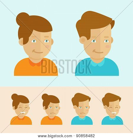 Vector Set Of Flat Cartoon Avatars