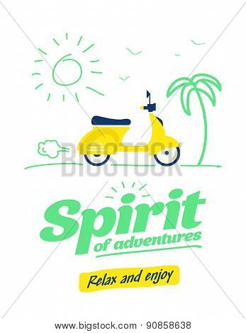 Summer Typography Poster With Flat Retro Moto Bike