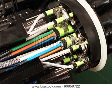 Fibre optic closure cable entry close up