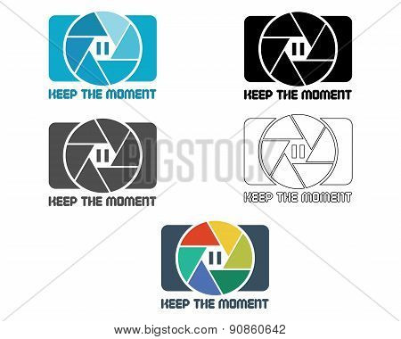 Shutter Icon or logo design template. Camera and Lens badge. Keep the moment theme. Isolated on whit
