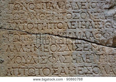 Old Letters On The Stone In Phaselis
