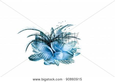 Fashion Hair Accessories And Brooches Made Of Colorful Feather On White Background