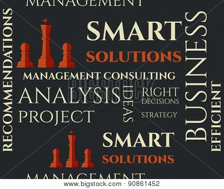 Smart solutions seamless pattern with management Consulting keywords concept. Business background il