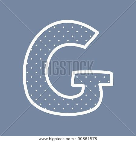 G vector letter with white polka dots on blue background